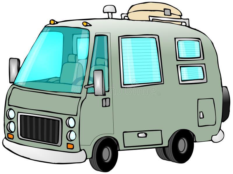 Motorhome verde ilustração royalty free