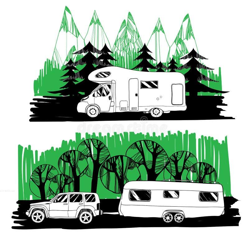 Motorhome y con un remolque en fondo del bosque stock de ilustración