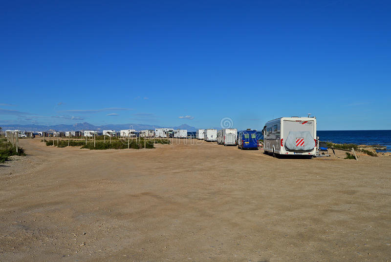 Motorhomes And Camper Vans Meet on The Beach stock photography