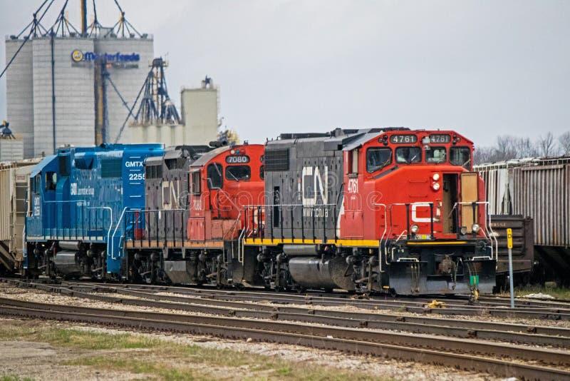 Motori diesel allo Stratford, iarde di CNR di trasporto di Ontario immagine stock libera da diritti