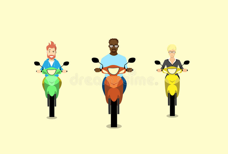 Motorino del motociclo di giro dell'uomo del gruppo della gente illustrazione di stock