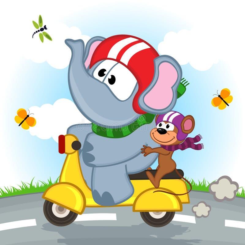 Motorino di guida del topo e dell'elefante illustrazione vettoriale
