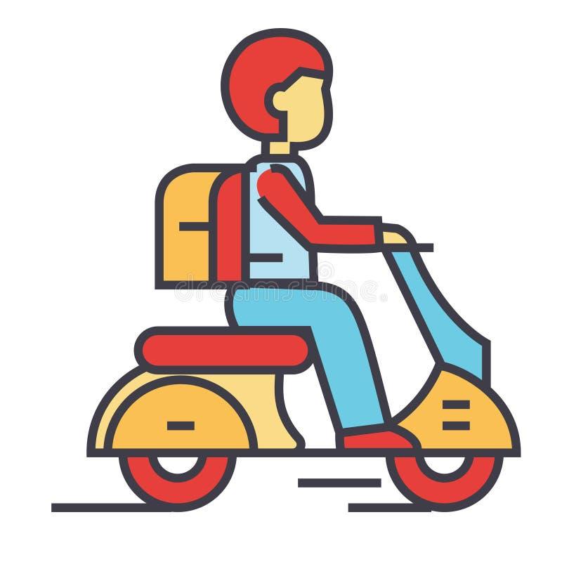 Motorino di viaggio, bici, cavaliere dei pantaloni a vita bassa, motociclo, concetto del ciclomotore illustrazione vettoriale