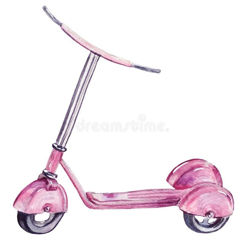 Motorino rosa dipinto a mano dell'acquerello immagine stock