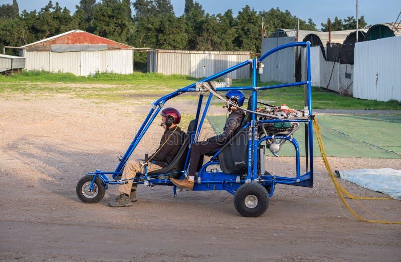Motorised paraglider prepare to take off stock image