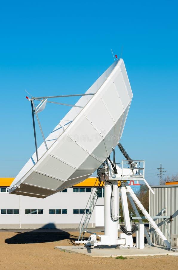 Motorised satellite dish. TV antenna in communication center royalty free stock photography