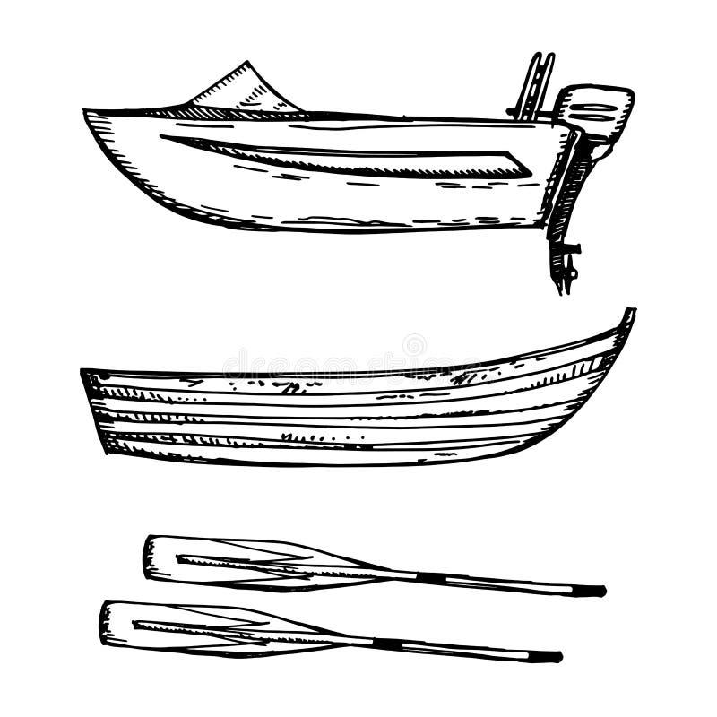 Motorisk fartyg och trä med skovelvektorillustrationen royaltyfri illustrationer