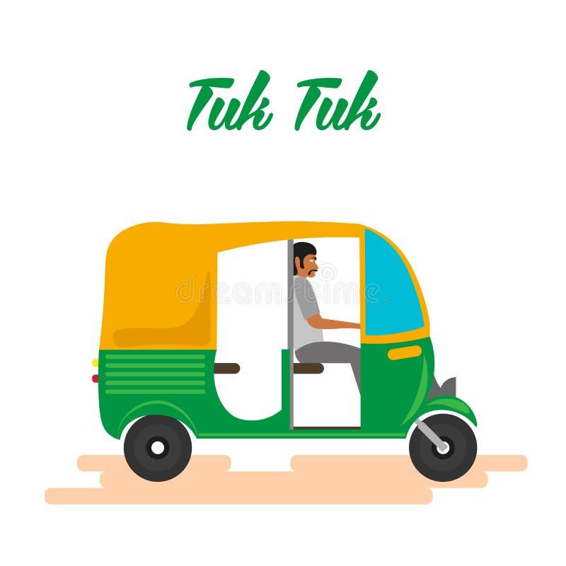 Motorisk rickshawbil för indier Indisk tuktuk också vektor för coreldrawillustration stock illustrationer