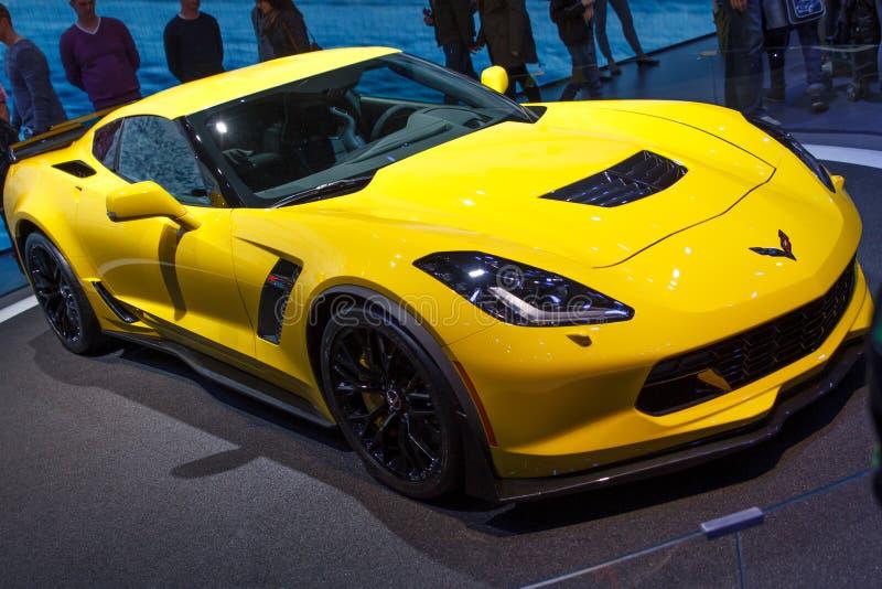 Motorisk show 2015 för gul Chevrolet Corvette Z06 Genève royaltyfri bild