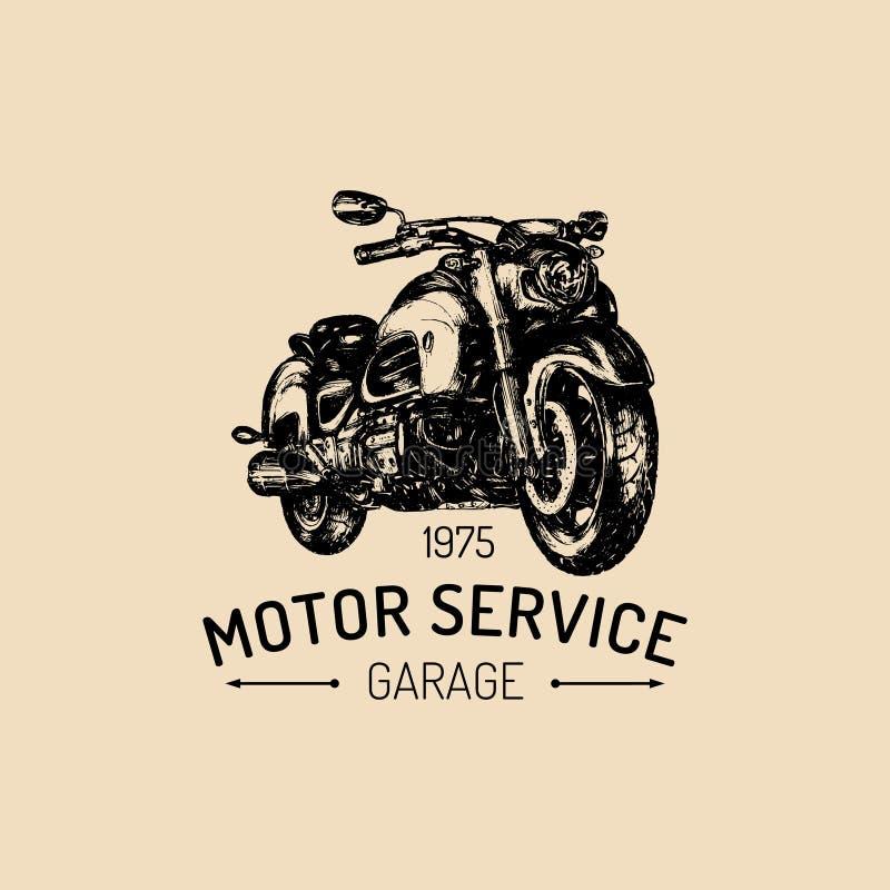 Motorisk tjänste- advertizingaffisch Dragen motorcykel för vektor hand Tappningcyklistillustration för avbrytargaragelogo vektor illustrationer