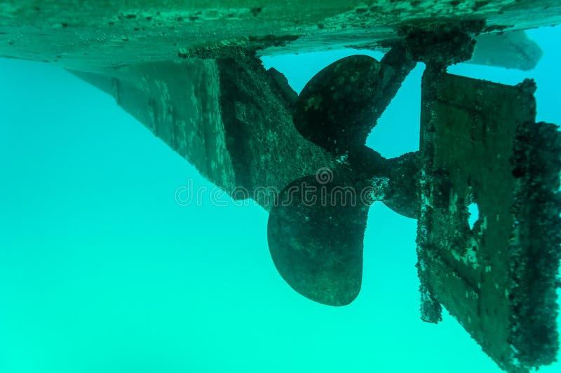 Motoriska fartyg för propeller- och roderblad fotografering för bildbyråer