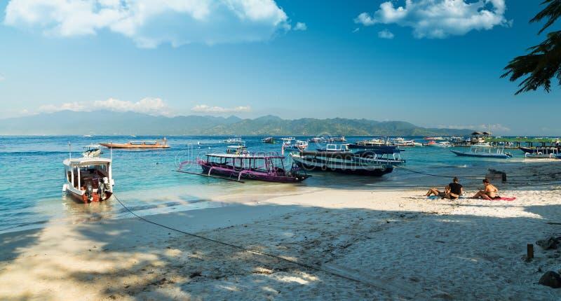 Motoriska fartyg, Gili Islands, Indonesien royaltyfria bilder