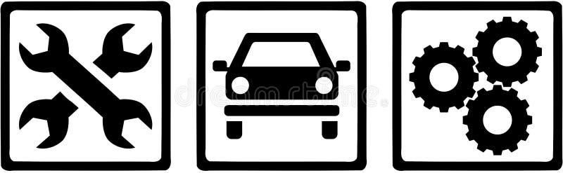 Motoriska mekanikersymboler Skiftnyckel bil, kugghjulhjul royaltyfri illustrationer