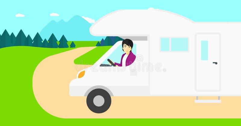 Motoriskt hem för mankörning stock illustrationer