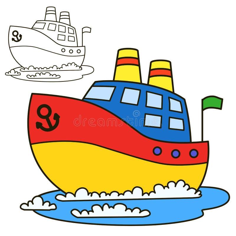 Motoriskt skepp Illustration för vektor för sida för färgläggningbok royaltyfri illustrationer
