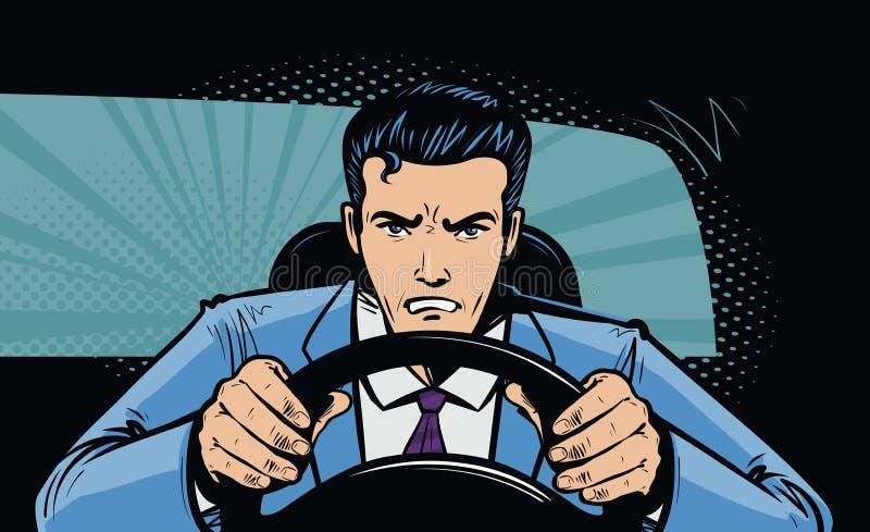 Motorista agressivo atrás da roda do carro Compita, perseguição no estilo cômico retro do pop art Ilustração do vetor dos desenho ilustração do vetor