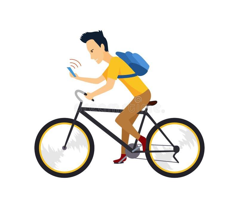 Motorista con smartphone y la mochila La gente en bicicleta conduce con seguridad campaña stock de ilustración