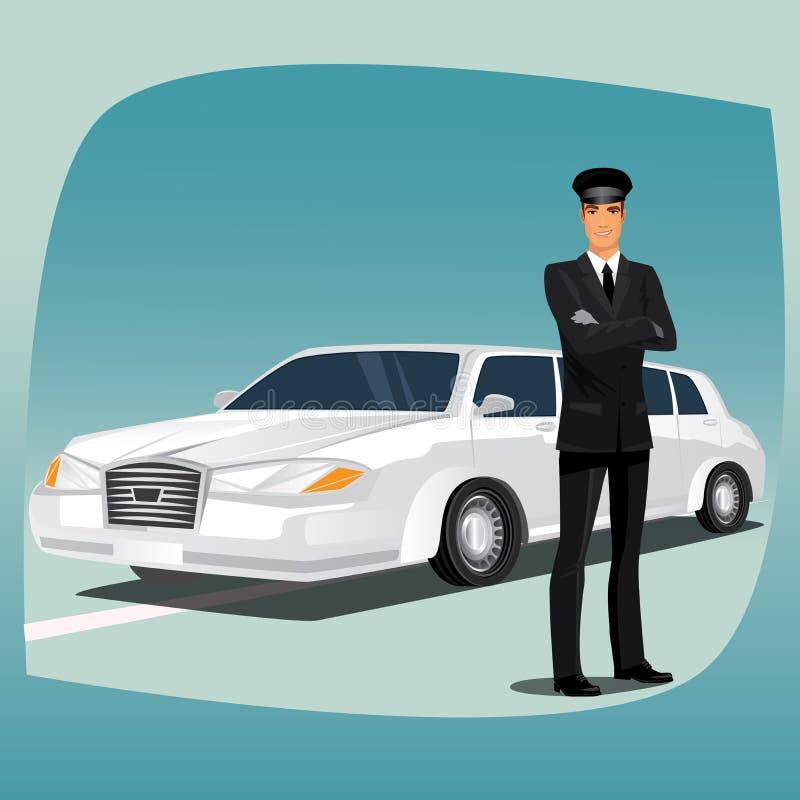 Motorista da limusina ou do lincoln ilustração do vetor