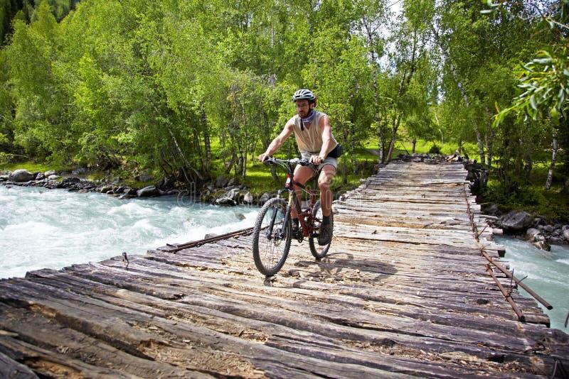 Motorista de la montaña en el puente de madera viejo imagen de archivo libre de regalías