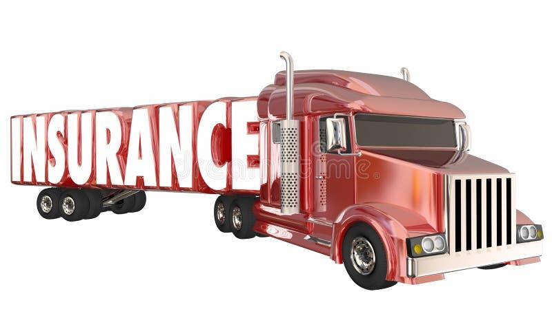 Motorista de transporte por caminhão Freight Coverage 3d Illustratio da política do seguro ilustração do vetor