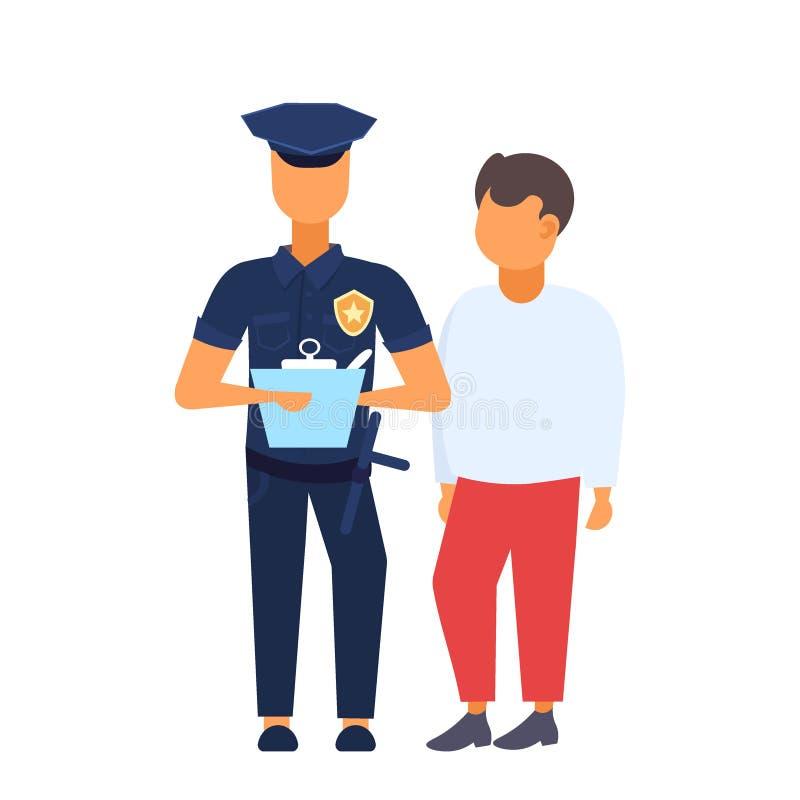 Motorista do homem com o agente da polícia que está junto o polícia no uniforme que escreve a relatório o fundo branco compri ilustração stock