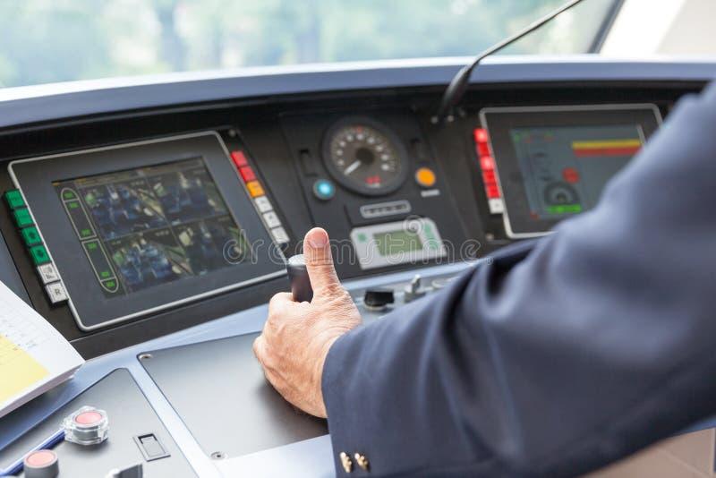 Motorista do trem Coordenador de estrada de ferro imagens de stock royalty free