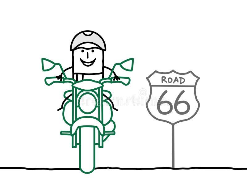 Motorista en el camino libre illustration