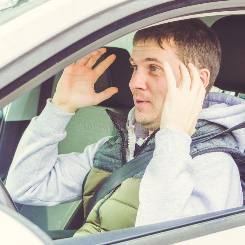 Motorista furioso e imprudente Perigo que conduz o conceito quadrado imagens de stock royalty free
