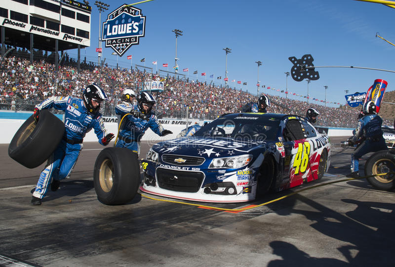 Motorista Jimmie Johnson Pitstop do copo da sprint de NASCAR foto de stock royalty free