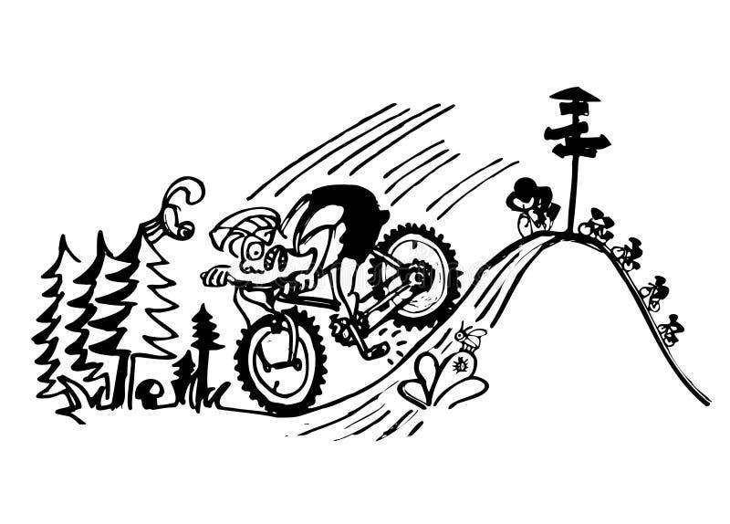 Motorista loco stock de ilustración