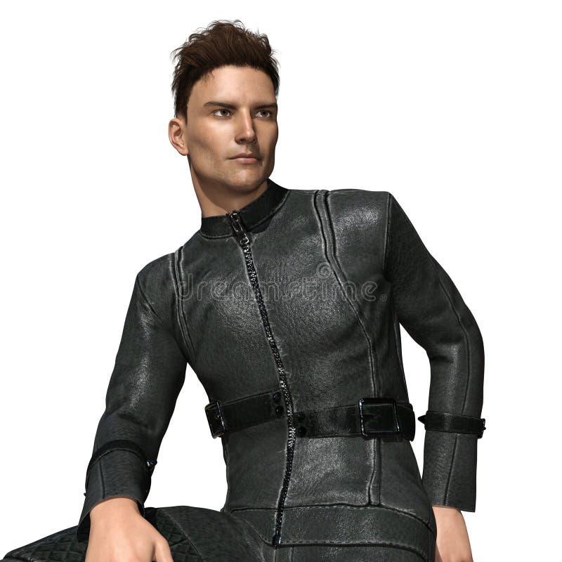Motorista masculino hermoso en el traje de cuero stock de ilustración