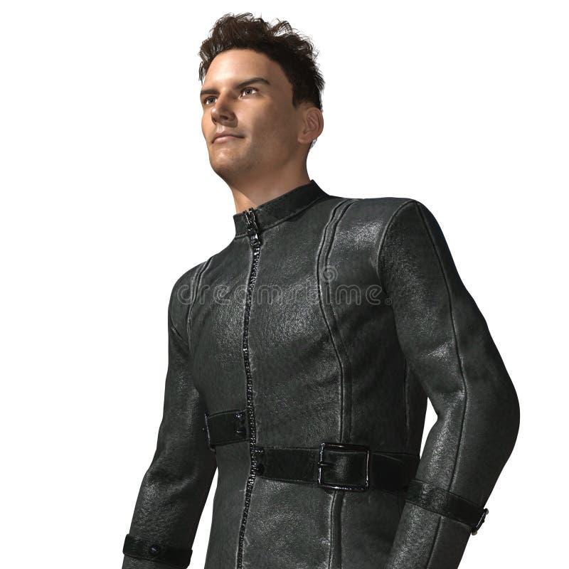 Motorista masculino hermoso en el traje de cuero ilustración del vector