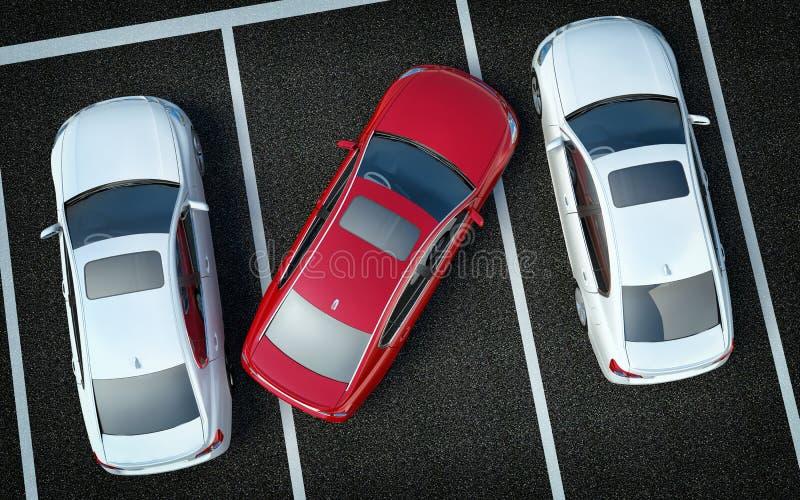 Motorista mau no estacionamento ilustração stock