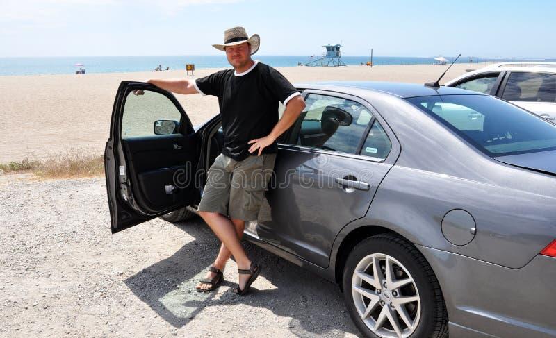 Motorista na praia imagens de stock