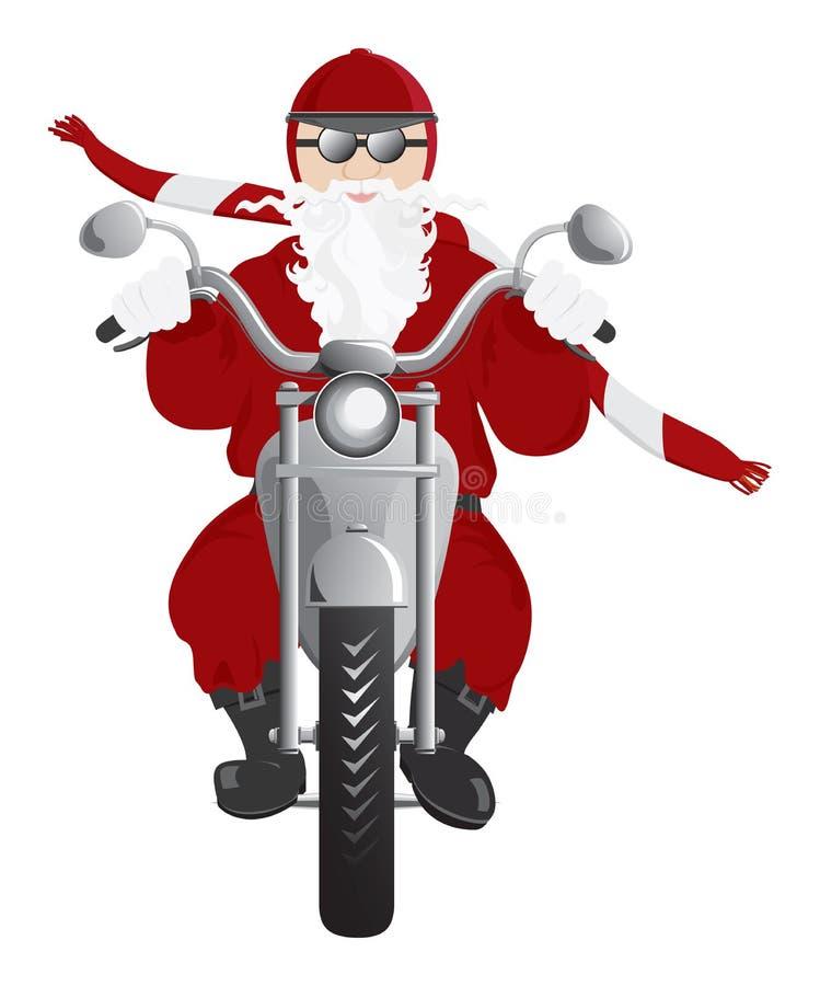 Motorista Santa en la motocicleta stock de ilustración