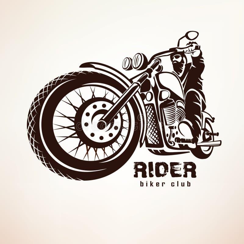 Motorista, silueta del vector del grunge de la motocicleta stock de ilustración