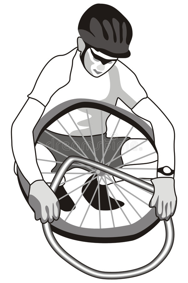 Motorista y neumático stock de ilustración