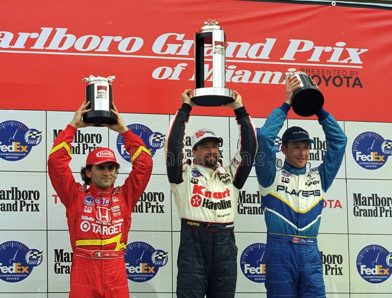 Motoristas Alex Zanardi, Michael Andretti, e Greg Moore do carro fotografia de stock royalty free