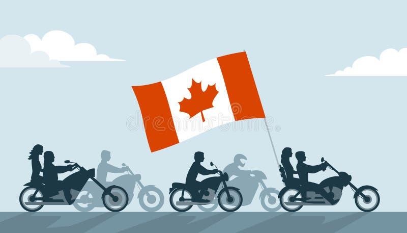 Motoristas canadienses en las motocicletas con la bandera nacional ilustración del vector