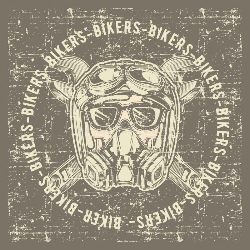 Motoristas del cráneo del cráneo del vintage del estilo del Grunge que llevan vector del dibujo de la mano del casco y de la llav ilustración del vector