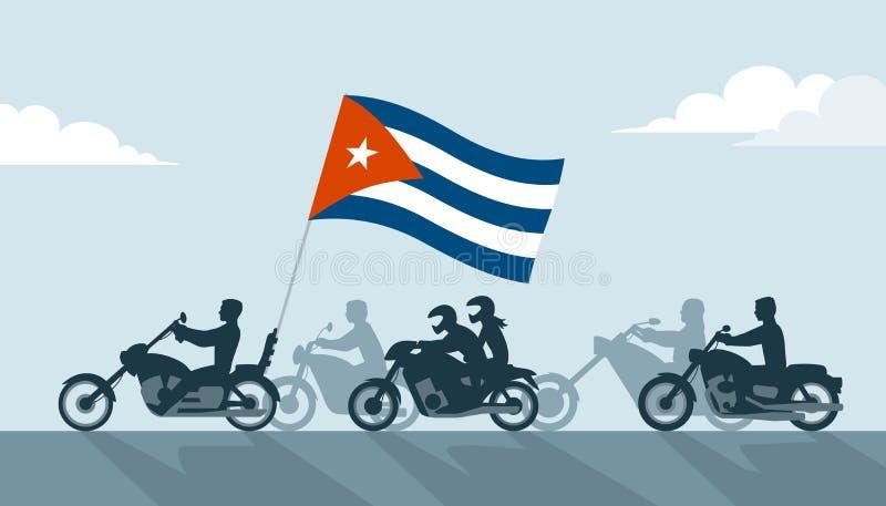 Motoristas en las motocicletas con la bandera de Cuba ilustración del vector