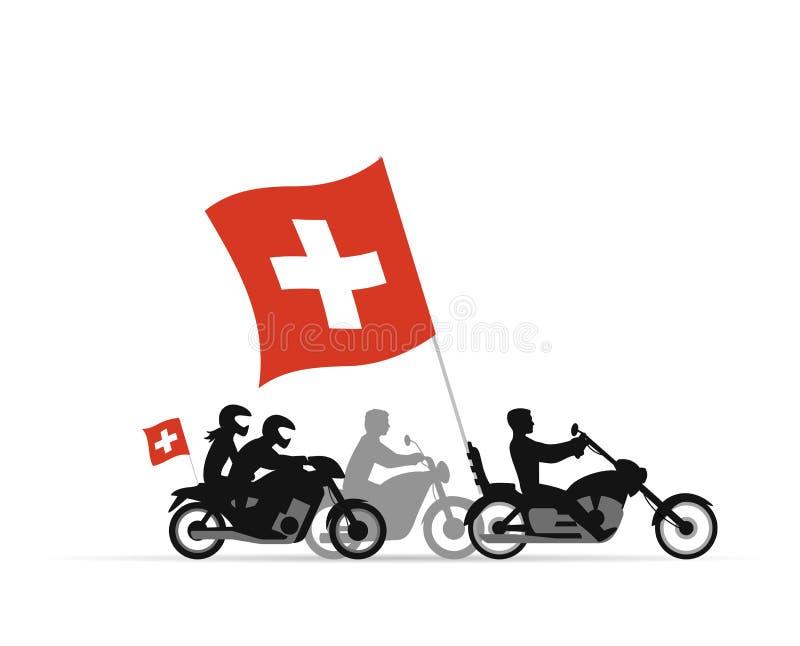 Motoristas en las motocicletas con la bandera suiza ilustración del vector