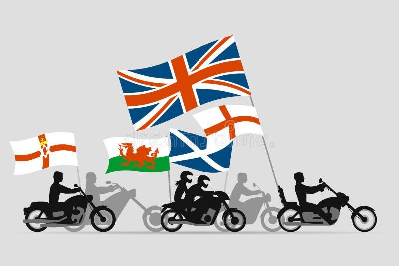Motoristas en las motocicletas con las banderas de Reino Unido stock de ilustración