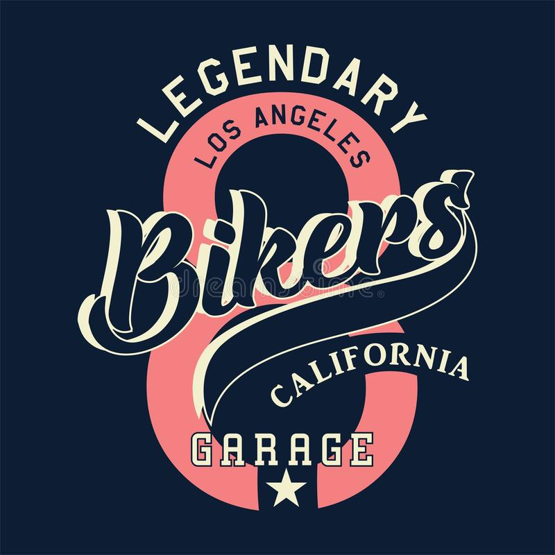 Motoristas legendarios California de Los Ángeles ilustración del vector