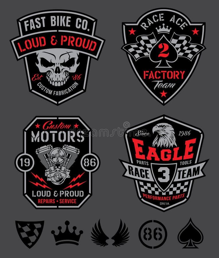 Motorn lappar emblemuppsättningen stock illustrationer