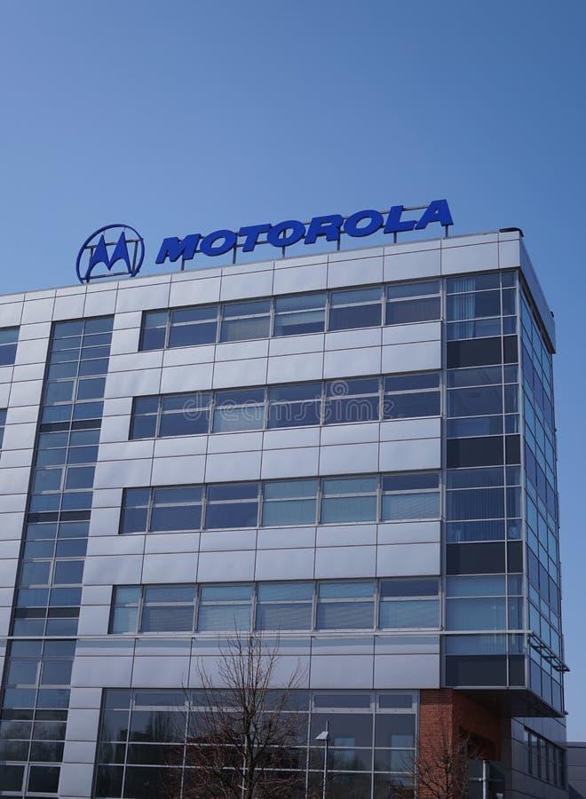 Motorola-signage bij de bouw van buitenkant stock fotografie