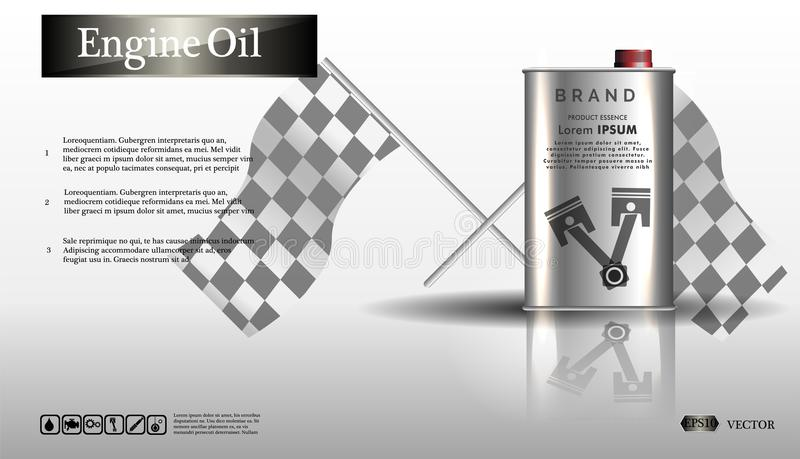 Motorolja i en järnkrus Buteljera motorolja på vit bakgrund med kugghjulet, ren vektor Realistisk bild för vektor 3D vektor illustrationer