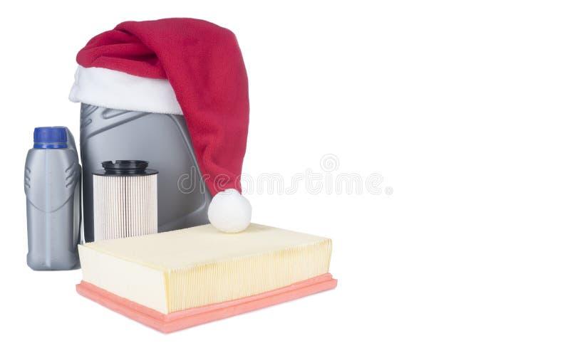 Motorolja kan med filter det nya året, julbegrepp arkivfoto