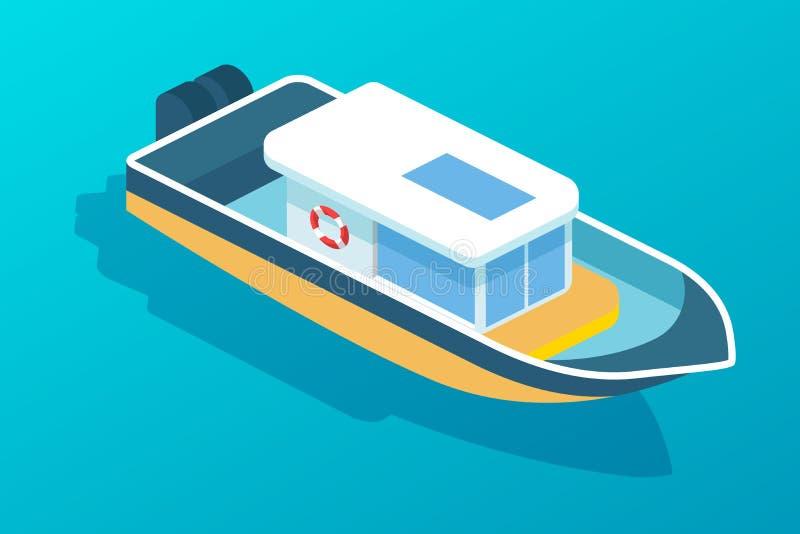 Motorowa łódź, statek z pasażerską kabiną Transport ludzie ilustracji
