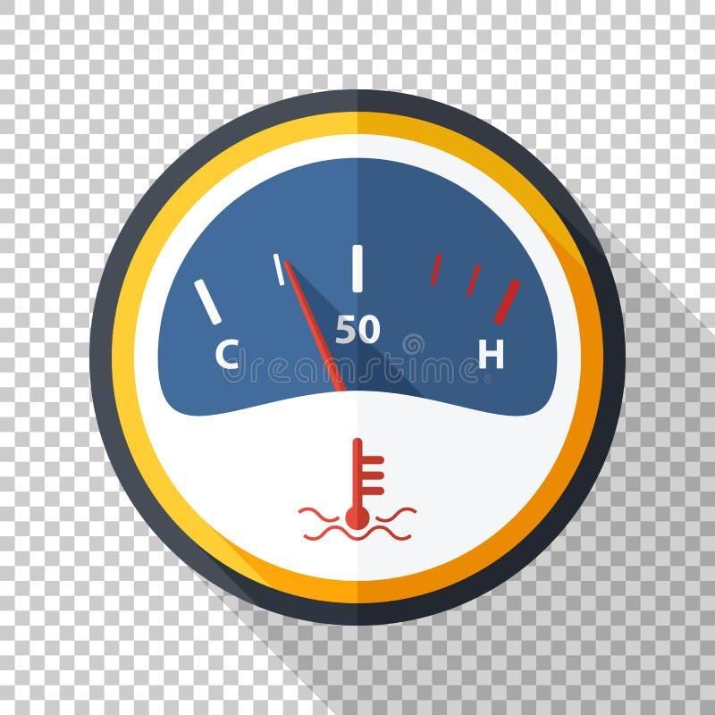 Motorowa temperaturowa wymiernik ikona w mieszkanie stylu na przejrzystym tle royalty ilustracja